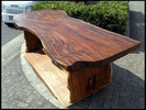 天然チーク材 一枚物 原木 無垢板 重厚な板厚テーブル